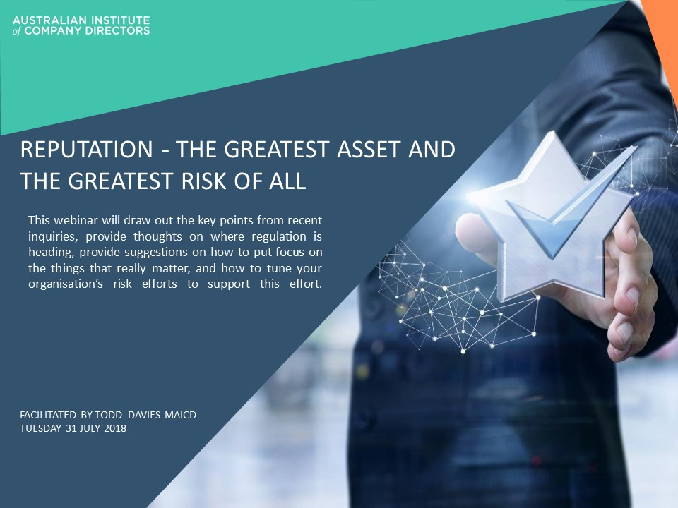 AICD webinar - reputation risk